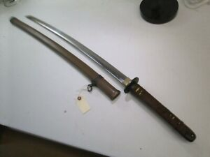 Late Wwii Japanese Officers Samurai Sword With Scabbard Signed And Dated W17