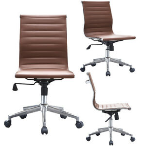 Modern Ribbed Executive Office Chair Mid Back Pu Leather Armless Desk Chair