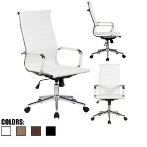 Pu Leather Office Chair With Arms Wheels Swivel Tilt Adjustable Seat High Back