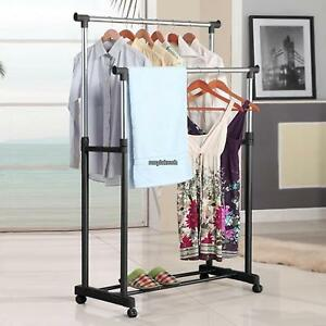 Usa Heavy Duty Commercial Garment Rack Rolling Collapsible Clothing Shelf Chrome