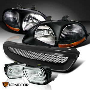 For 96 98 Honda Civic Black Headlights T R Mesh Grille Clear Fog Lamps