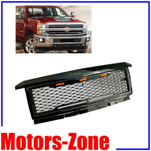 Painted Gloss Black Front Grille For 16 19 Chevy Silverado 2500 Grille W 3 Led