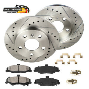 For 2002 2005 Explorer Mountaineer Rear Drill Slot Brake Rotors Ceramic Pads