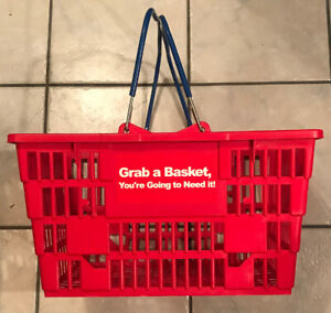 Grocery Shopping Hand Basket set Of 6 Red Plastic W Blue Rubber Metal Handles