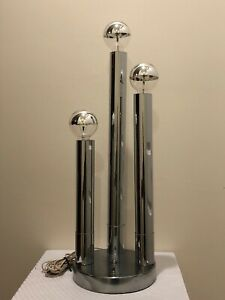Vintage Mid Century Modern Chrome 3 Tiered Tube Cylinder Table Lamp