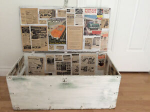 Vintage Trunk Lined 1950s Magazine Newspaper Shabby Chic Coffee Table Storage