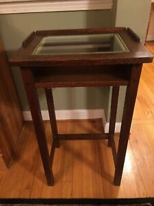 Vintage Cushman Telephone Table Stand Betumal 1910 Mission Oak Arts