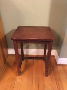 Antique Cushman Telephone Table Stool Betumal Stand Oak Mission Arts