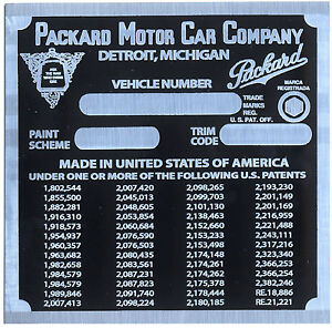 Packard Cowl Plate 1948 Vin Id Identification Most Any Plate Can Be Made By Me
