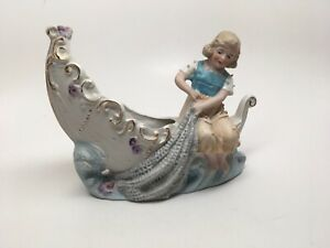Antique German Bisque Figurine Planter Girl On A Boat Signed Numbered