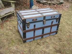 Antique Stagecoach Steamer Trunk 1800s Flat Top Blue Paint Chest Coffee Table