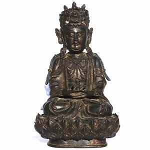 Ming Dynasty Gilt Lacquered Bronze Figure Of Guanyin Buddha