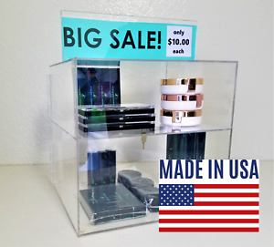 Locking Display Case Acrylic Plexiglass Lucite Countertop Cabinet Fixture Retail