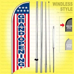 Grand Opening Windless Swooper Flag Kit 15 Feather Sign Stars Stripes Wb h