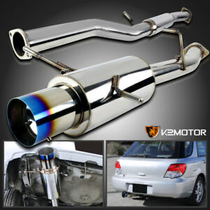 For 2002 2007 Subaru Impreza Wrx Sti Muffler Catback Exhaust 4 5 Burnt Tip