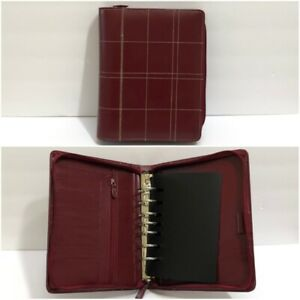 Franklin Covey Classic Red Leather Binder Planner Organizer 7 Ring Zip Stitches