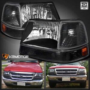 For 1998 2000 Ford Ranger Black Headlights parking Corner Lamps Left right Pair