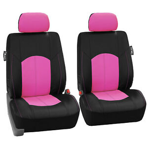 Faux Leather Front Car Seat Covers Set Luxury Pink Black For Car Truck