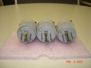 Lot Of 3 Arrow Hart 30amp 120 208v Male Twist Lock 3 Phase Electrical Plug
