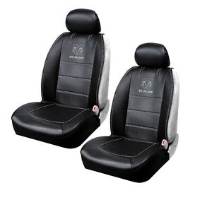 New Ram Elite Black Synthetic Leather 2 Front Sideless Seat Covers Car Truck Suv