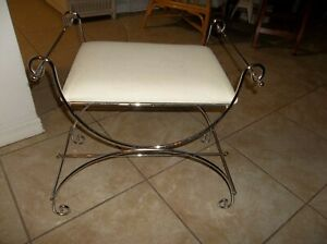 Vintage Chrome Metal Vanity Stool Bench Scroll Mid Century Hollywood Regency