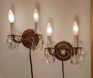 3 Pairs Of Vintage Spanish Brass Wall Sconces W Prisms Crystals Very Ornate