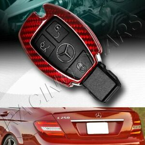 Real Red Carbon Remote Key Shell Cover Case Fit Mercedes benz W203 W210 W211