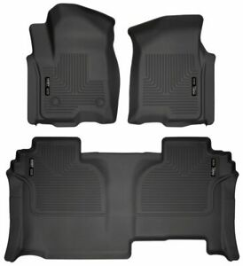 Floor Liners Fit 2019 2020 Chevrolet Silverado 1500 Double Cab Husky Black