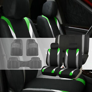 Car Seat Covers Set For Auto Sedan Green W Gray Rubber Floor Mats