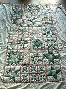 Vintage Single Bed Handmade Patchwork Quilt Throw 94 Long X 77 Wide