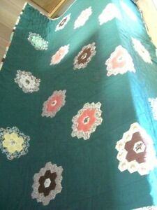 Vintage Large Handmade Patchwork Quilt Throw 99 Long X 74 Wide