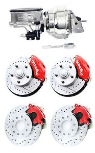 Wilwood Red Drilled Slotted Front Rear Disc Brake Kit W Chrome Booster