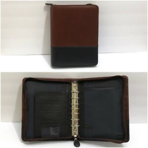 Franklin Covey Classic Brown Leather Binder Planner Organizer Zip 7 Ring 2 Tone
