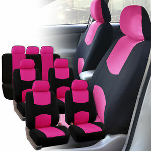 Auto Seat Covers For 3row 7 Seaters Suv Van Universal Fitment Pink Black