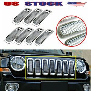 Fits Jeep Patriot 2011 2017 Chrome Front Mesh Grille Cover Insert Grill Trim