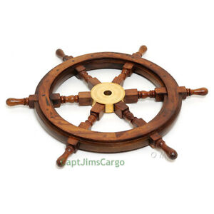 Ship S Steering Wheel 36 Rosewood Solid Brass Hub Nautical Boat Wall Decor New