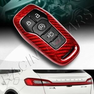 Real Red Carbon Remote Key Shell Cover Case Fit Ford Mustang Edge F150 Fusion
