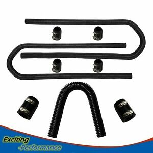 Flexible 44 Stainless Steel Heater Hose 36 Radiator W clamp Covers Kit Black