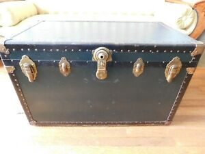 Antique Vintage Metal Steamer Trunk With Tray Dark Green Color