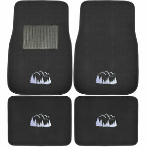 4pc Grille Logo Car Truck Suv Front Rear All Weather Carpet Floor Mats Fit Jeep