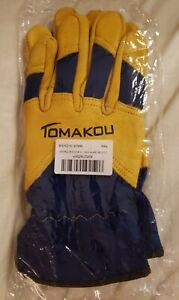 Tomakou Mens Medium Leather Work Gloves Construction Heavy duty Gardening New Q1