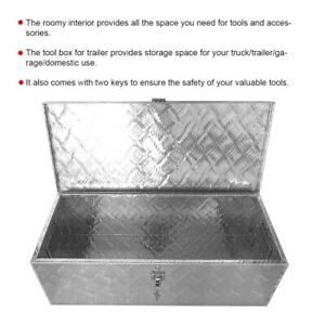 30in Truck Trailer Garage Tools Accessory Storage Box Lockable Aluminum Toolbox