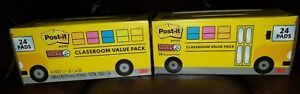 2 Post it Super Sticky Notes Value Packs 48 Pads School Bus