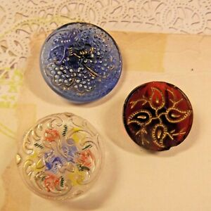 3 Antique Glass Buttons Blue Red Clear With Painted Back