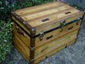 Antique 1880s Flat Top Steamer Trunk Lock Key Wood Chest Coffee Table