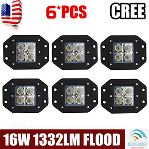 6x 5inch 16w Led Flood Cube Work Lights Driving Off road Flush Mount Marine Cars