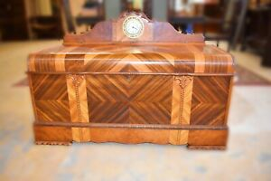 Rare 1948 Antique Art Deco Cedar Chest With Clock Roos Sweetheart Trunk