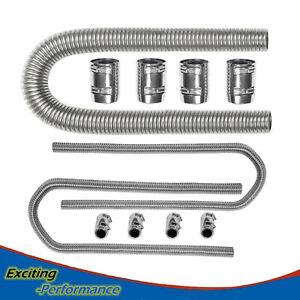 48 Stainless Steel Flexible Radiator 44 Heater Hose With Clamp Covers Set