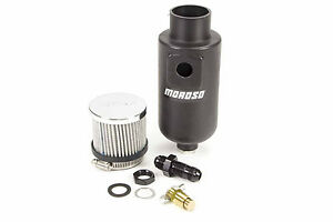 Moroso Breather Tank Dry Sump 1 Qt Round Polyethylene Black 8 An Inlet 85404
