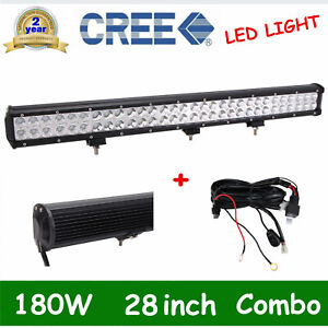 28inch 180w Led Light Bar Flood Spot Work Driving Off Road With Free Wiring Kit